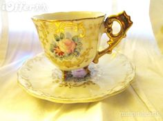 Lovely yellow #Teacup & #saucer with heavy gold fancy handle