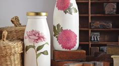 DIY Decoupage Milk Bottles