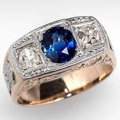 Men's Vintage Sapphire and Old Mine Cut Diamond Ring 18K Gold - EraGem