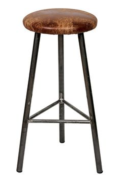 'Rick Tanner' Round Frame Bar Stool with Leather Seat — Paul Frampton Design Ltd Industrial Bar Stools, Designer Bar Stools, Office Chair Without Wheels, Chaise Bar, Steel Bar, Coffee Design, Steel Furniture, Wood Slab, Bar Chairs