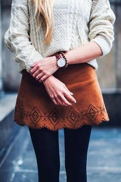 With Mini Skirts | 12 Different Ways To Wear Tights This Fall