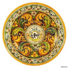 PS - I would like more plates of this design Prior - Artistica - Italian Ceramics, Deruta and Vietri Dinnerware. Ceramic Wall Tiles, Ceramic Pottery, Ceramic Art, Tile Art, Plate Wall Decor, Plates On Wall, Renaissance Era, Italian Pottery, Italian Art
