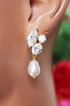 Crystal Cubic Post Wedding Earrings Pearl Drop by AuroraJewelryBox