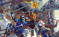 French knights storm the ramparts of a Burgundian outpost. The Burgundian Wars (1474–1477) were a conflict between the Dukes of Burgundy and the Kings of France, later involving the Old Swiss Confederacy, which would play a decisive role. Open war broke out in 1474, and in the following years the Duke of Burgundy, Charles the Bold, was defeated three times on the battlefield and killed in the Battle of Nancy in 1477.