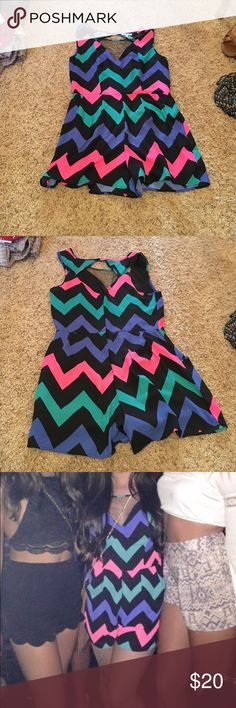 Zig zag colorful romper Charlotte Russe colorful zig zap romper. Size L. Worn once. Charlotte Russe Pants Jumpsuits & Rompers