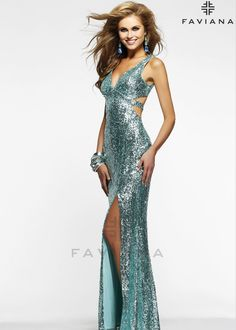 Shop 2014 prom dresses, Faviana 7313 green sleeveless open back prom dress available now at RissyRoos.com.