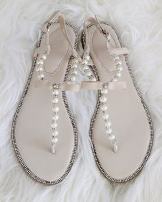 NATURAL T-Strap Pearl Sandals With Rhinestones Embellishments