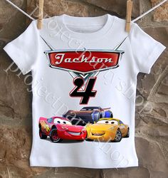 An awesome boys Cars 3 birthday shirt personalized with your child's name and age. All shirts are cotton. I use a professional heat press to transfer the Family Birthday Shirts, Brother Birthday, Family Birthdays, Family Shirts, 3rd Birthday, Birthday Ideas, Disney Cars Birthday, Cars Birthday Parties, Birthday Gifts