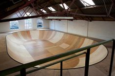 UK artist Benedict Radcliffe's #skate bowl,   measuring 15m x 9m and 1.5 meter deep (with a 7.5ft transition) - the meticulously hand-crafted hollow is made of reclaimed timber.Located off Brick Lane in East London. Hipster heaven!