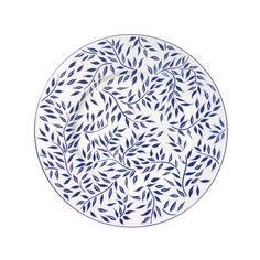 About Nymphea - Olivier blue:The Olivier Blue collection features blue leaves and delicate curves along the hand-painted rim. This new color way will marry and cheer up any white dinnerwareDishwasher & Microwave safe Painted Plates, Plates On Wall, Hand Painted, Blue Pottery, Pottery Plates, Moroccan Plates, Pottery Videos, Glaze Paint, White Dinnerware
