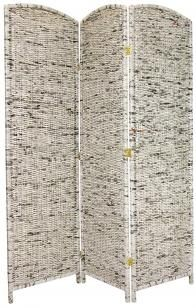 A unique room divider, hand-crafted from recycled Asian news print woven into kiln-dried wood frame panels. Shade light from windows or doorways, hide a messy work area, or divide a living space. An environmentally-friendly screen, lightweight and durable.