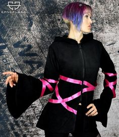 Cryoflesh Lacey Ribbon Zipper Cybergoth Goth Hooded Warm Soft Fleece Top Hoodie #Cryoflesh #Cybergoth