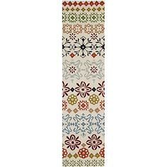 """Safavieh Wyndham Collection WYD319A Handmade Ivory and Multi Wool Runner, 2 feet 3 inches by 9 feet (2'3"""" x 9')"""