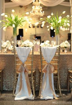 2018 2018 New Arrival Wedding Decorations Vinatge Wedding Chair Covers Bridal Chair Sash Chiffon Gold Ribbon Simple Wedding Supplies From Chic_cheap, $3.32 | Dhgate.Com