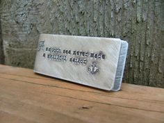 www.MyBellaMarketplace.com  #MyBellaMarketplace  A Smooth Sea Never Made A Skillful Sailor Custom Hand Stamped Copper Money Clip with Initials - by MyBella
