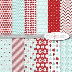 Moo & Puppy - Christmas Cedar Red Digital Scrapbook Paper Pack