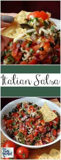 Delicious salsa with amazing Italian flavors! Tomato, black olives, garlic & more! YUM!!!