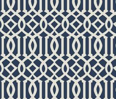 Imperial Trellis-Navy-Large fabric by melberry on Spoonflower - custom fabric  fun wallpaper for a bathroom. wainscoting  below and funky fun wallpaper above.