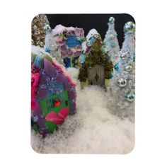 Tiny Houses In Winter Wonderland Magnet - Xmas ChristmasEve Christmas Eve Christmas merry xmas family kids gifts holidays Santa