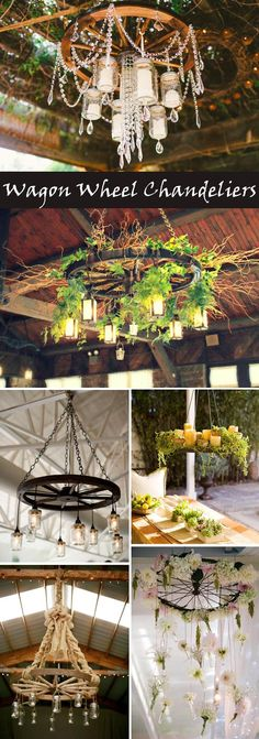 DIY wagon wheel chandelier ideas for rustic and vintage weddings