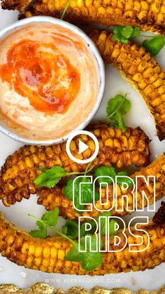 How to make corn ribs at home; a simple, flavorful corn side dish chopped, seasoned, and baked to crispy, tender perfection. Plus, these corn riblets can be cooked in an air fryer, oven, or even shallow fried. Mexican Food Recipes, Whole Food Recipes, Vegetarian Recipes, Veggie Dishes, Vegetable Recipes, Corn Dishes, Healthy Cooking, Cooking Recipes, Cooking Videos