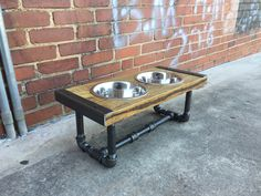 Your place to buy and sell all things handmade Elevated Dog Bowls, Raised Dog Bowls, Wood Dog Bed, Diy Dog Bed, Diy Wooden Projects, Wooden Diy, Industrial Furniture, Industrial Chic, Dog Feeding Station