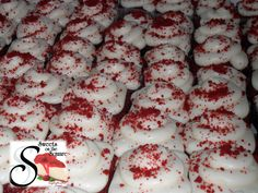 Red velvet cupcakes covered in our homemade cream cheese icing and red velvet sprinkles. Made from scratch just like everything else! - Sweets on the Square in Lawrenceville, GA