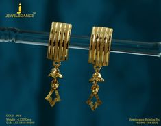 Gold 916 Premium Design Get in touch with us on Gold Jhumka Earrings, Gold Earrings Designs, Gold Drop Earrings, Bridal Earrings, Necklace Designs, Gold Jewelry Simple, Simple Necklace, Gold Chain Design, Bangle Set