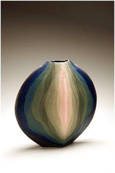Sosei (Genesis) by Miyashita Zenji (1939-2012) Stoneware and coloured clay overlays, Japan #CeramicPottery click now for info.