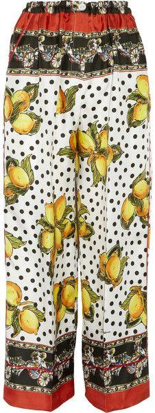 Printed Silk Cropped Wide-leg Pants - Lyst
