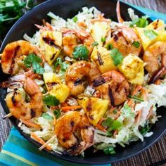 Grilled Teriyaki Shrimp with Asian Slaw makes a flavorful, light meal that's perfect for grilling season. This easy meal is ready in about 20 minutes. Chunks of fresh pineapple are threaded onto skewers with shrimp that has been marinated in Kikkoman Teriyaki Marinade & Sauce. They grill up in just minutes and taste so …