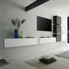 Ensemble meuble TV suspendu blanc laqué et wengé moderne CARLY