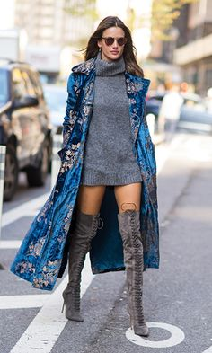 Alessandra Ambrosio was seen before the Victoria's Secret fitting wearing a gorgeous blue velvet Ralph Lauren coat.