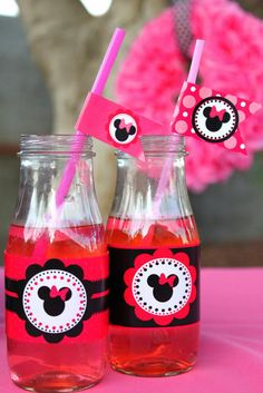 Minnie Mouse Party Printables: Jazz up ordinary beverage containers with themed party printables — like these Minnie Mouse straw flags ($5) and Minnie Mouse Bottle Labels ($5).
