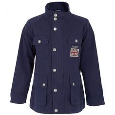 Hackett London Boys Navy Blue &amp Red Wool Blend Duffle Coat at