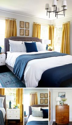 Bedroom makeover from Emily Henderson.  Love the shades of rich blue combined with a pop of a saffron yellow in the curtains. Walls: Gray Owl, Benjamin Moore.