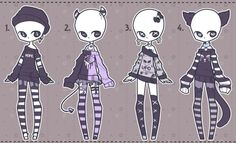DeviantArt: More Like Gacha outfits 16 by kawaii-antagonist Chibi Kawaii, Clothing Sketches, Fashion Design Drawings, Drawing Base, Drawing Clothes, Anime Outfits, Character Outfits, Character Drawing, Cute Drawings
