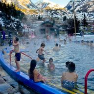 Colorado: Ouray Hot Springs Pool, range of temps, lap-swim & diving areas: graduated rates for children/ seniors/ adults: also Healing Touch Massage Therapy Colorado Places To Visit, Road Trip To Colorado, Places To Travel, Places To Go, Travel Destinations, Colorado Springs Camping, Durango Colorado, Denver Colorado, Hot Springs