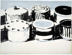 Untitled 1963 Wayne Thiebaud ink wash in blue and black 16 x 22 in. x cm) Smithsonian American Art Museum Food Painting, Painting Prints, Art Prints, Paintings, Wayne Thiebaud, Renaissance Kunst, Psychedelic Drawings, Observational Drawing, Principles Of Art