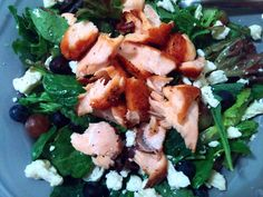 A Shallot, Citrus Salmon Salad with Seasonal Toppings