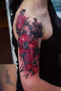dark red watercolor floral tattoo - Google Search