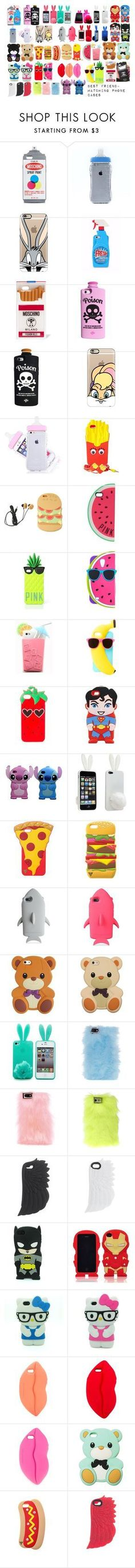 """Matching Best Friend Phone cases"" by lazii-gul-16 ❤ liked on Polyvore featuring Moschino, Casetify, Valfré, Forever 21, Victoria's Secret, Victoria's Secret PINK, Samsung, Pink Stitch, STELLA McCARTNEY and Skinnydip"