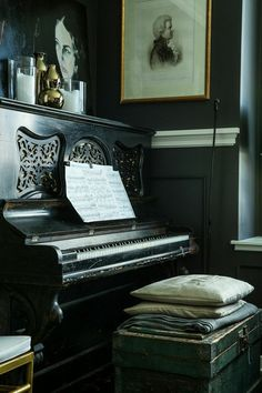 Gorgeous black upright piano | AT HOME WITH: Lizette Bruckstein | Rue