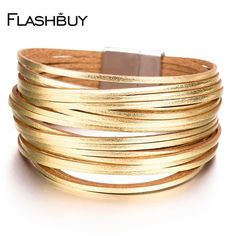 myalleshop ~ Prodotti ~ Flashbuy Alloy Gold Silver Leather Wrap Bracelets 20 Strip Multi-Row Bangles For Women Multilayer Wide Female Jewelry ~ Shopify The Bangles, Bracelets Wrap En Cuir, Jewelry Bracelets, Leather Bracelets, Leather Chain, Gold Leather, Oxford, Couple Jewelry, Gold Fashion
