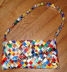 Wrapper purse DIY- Great technique for creating cuff bracelets, trash cans, etc. out of wrappers, magazines, etc