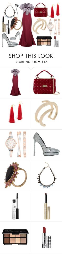 """Ravishing attire"" by hillarymaguire ❤ liked on Polyvore featuring Carolina Herrera, Valentino, Adia Kibur, Jennifer Fisher, Anne Klein, Yves Saint Laurent, Philippa Holland, Joomi Lim, MAC Cosmetics and Trish McEvoy"