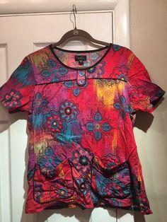 2099b984913 Peaches Women's Multi-colored Floral Print Scrub Top (100% Cotton); Size