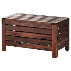 IKEA - ÄPPLARÖ, Storage bench, outdoor, Perfect for storing gardening tools and plant pots.For added durability and so you can enjoy the natural expression of the wood, the furniture has been pre-treated with several layers of semi-transparent wood stain. Outdoor Storage Boxes, Ikea Storage, Bench With Storage, Shoe Storage, Storage Benches, Storage Trunk, Table Storage, Ikea Outdoor, Outdoor Furniture