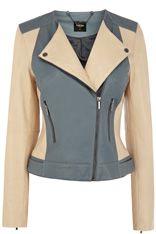 Colourblock Leather Biker Jacket