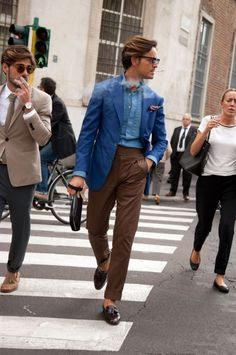 Photos: Street Style from Milan Fashion Week Spring/Summer 2014 Best Mens Fashion, Suit Fashion, Daily Fashion, Milan Fashion, Style Fashion, Stylish Men, Men Casual, Smart Casual, Mode Costume